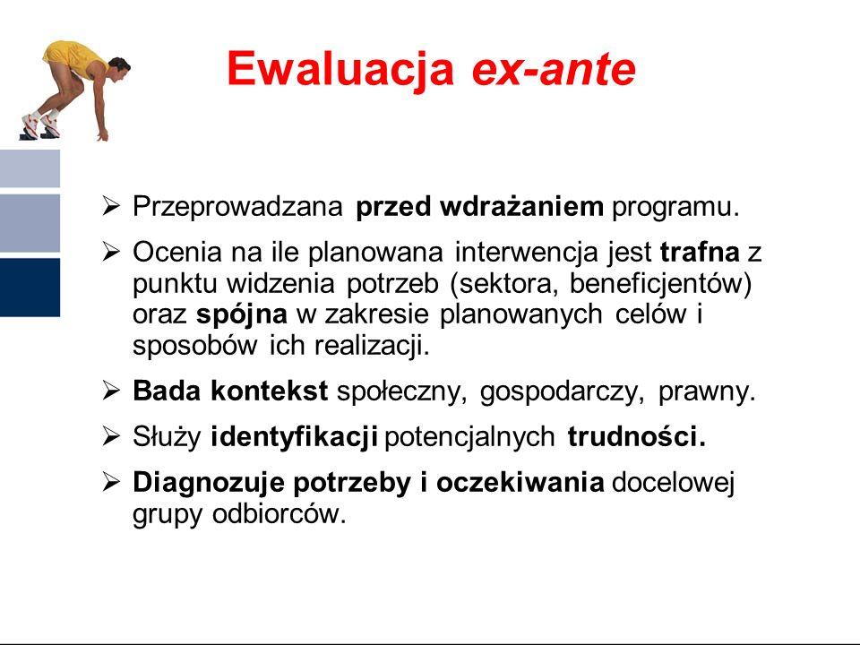 Klasyfikacja ewaluacji 4. Termin przeprowadzania ewaluacji ex – ante – ocena szacunkowa przed rozpoczęciem programu mid – term – ocena w połowie reali