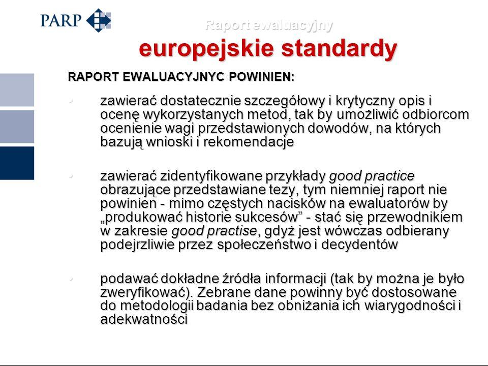 Raport ewaluacyjny europejskie standardy RAPORT EWALUACYJNYC POWINIEN: być związany z tematem, opierać się na dokładnej analizie i odpowiadać standard
