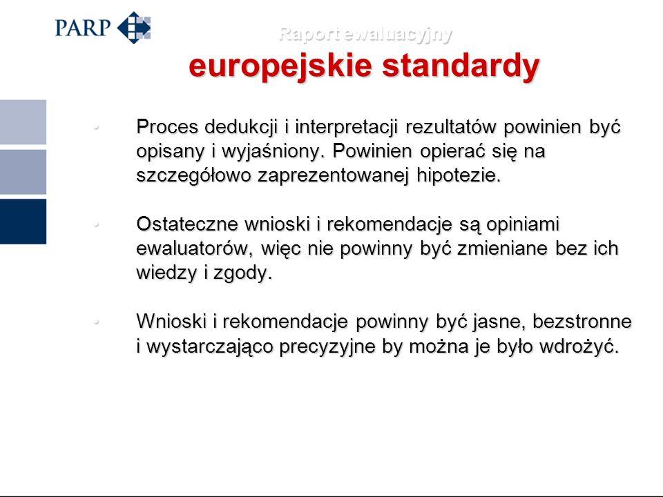 Raport ewaluacyjny europejskie standardy RAPORT EWALUACYJNYC POWINIEN: zawierać dostatecznie szczegółowy i krytyczny opis i ocenę wykorzystanych metod
