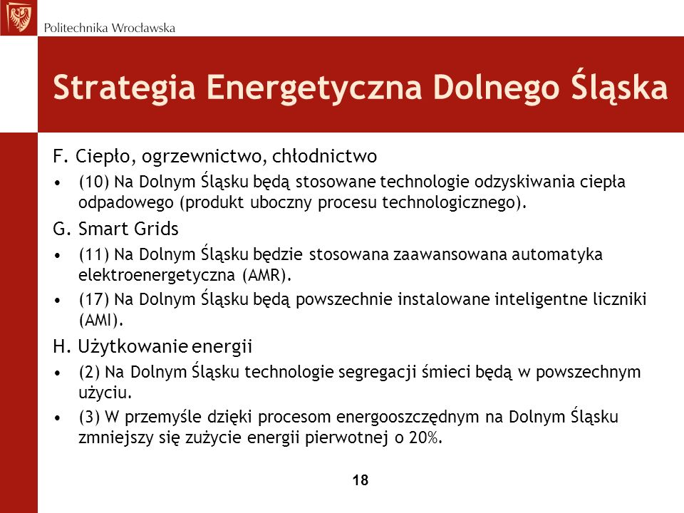 18 Strategia Energetyczna Dolnego Śląska F.
