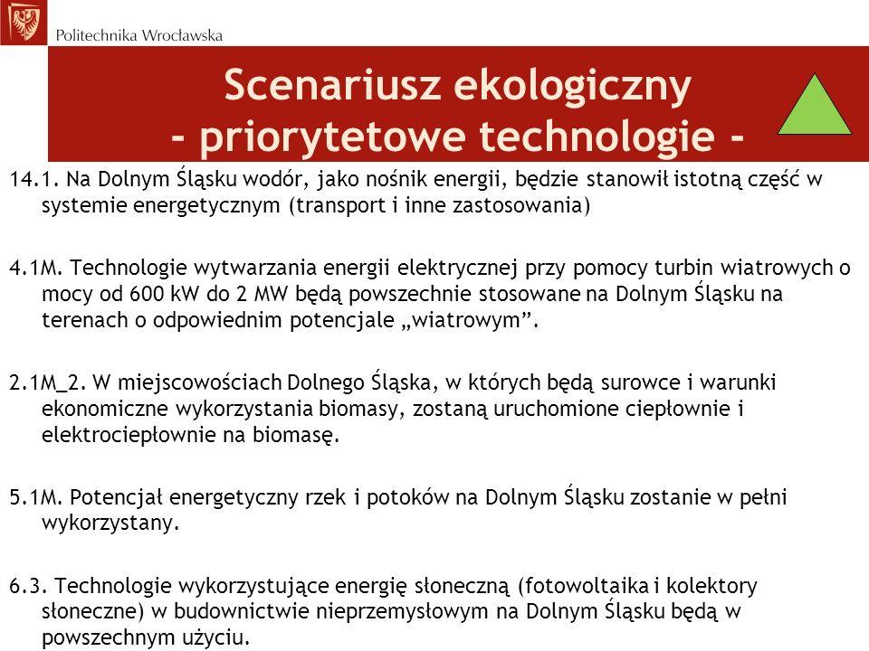 Scenariusz ekologiczny - priorytetowe technologie - 14.1.