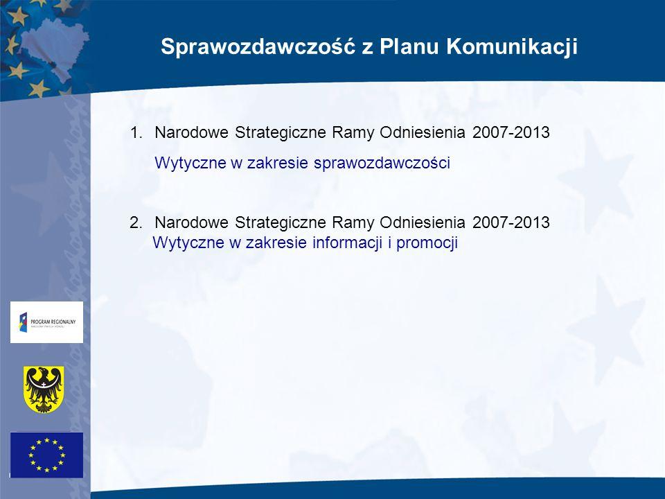 Sprawozdawczość z Planu Komunikacji 1.Narodowe Strategiczne Ramy Odniesienia 2007-2013 Wytyczne w zakresie sprawozdawczości 2.Narodowe Strategiczne Ra