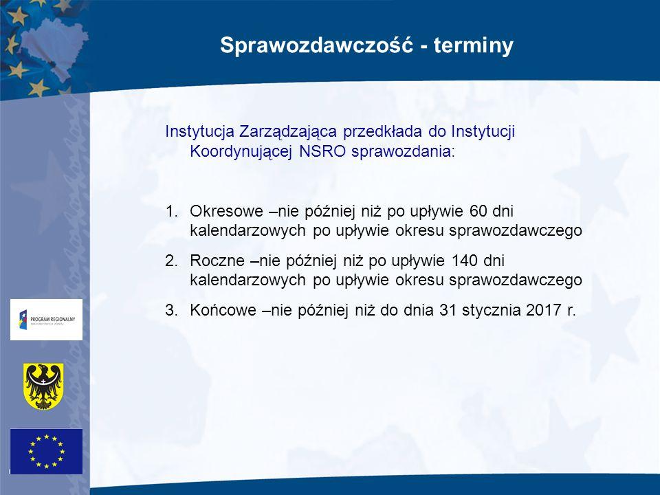 Sprawozdawczość - terminy Instytucja Zarządzająca przedkłada do Instytucji Koordynującej NSRO sprawozdania: 1.Okresowe –nie później niż po upływie 60
