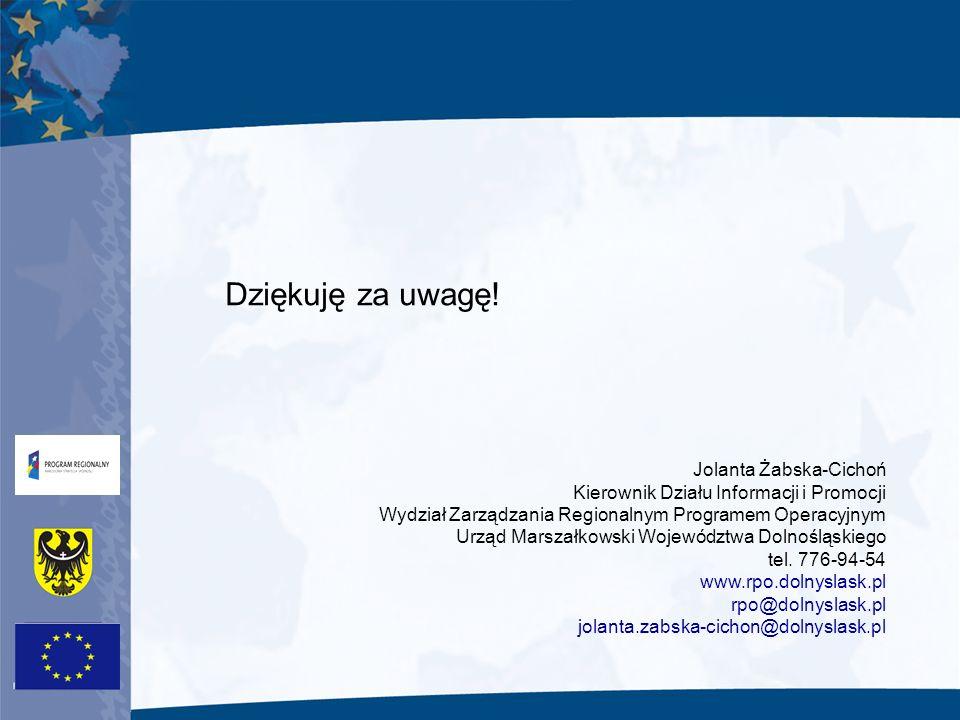 Dziękuję za uwagę! Jolanta Żabska-Cichoń Kierownik Działu Informacji i Promocji Wydział Zarządzania Regionalnym Programem Operacyjnym Urząd Marszałkow