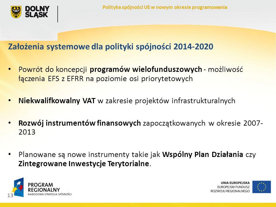 13 Założenia systemowe dla polityki spójności 2014-2020 Powrót do koncepcji programów wielofunduszowych - możliwość łączenia EFS z EFRR na poziomie osi priorytetowych Niekwalifkowalny VAT w zakresie projektów infrastrukturalnych Rozwój instrumentów finansowych zapoczątkowanych w okresie 2007- 2013 Planowane są nowe instrumenty takie jak Wspólny Plan Działania czy Zintegrowane Inwestycje Terytorialne.