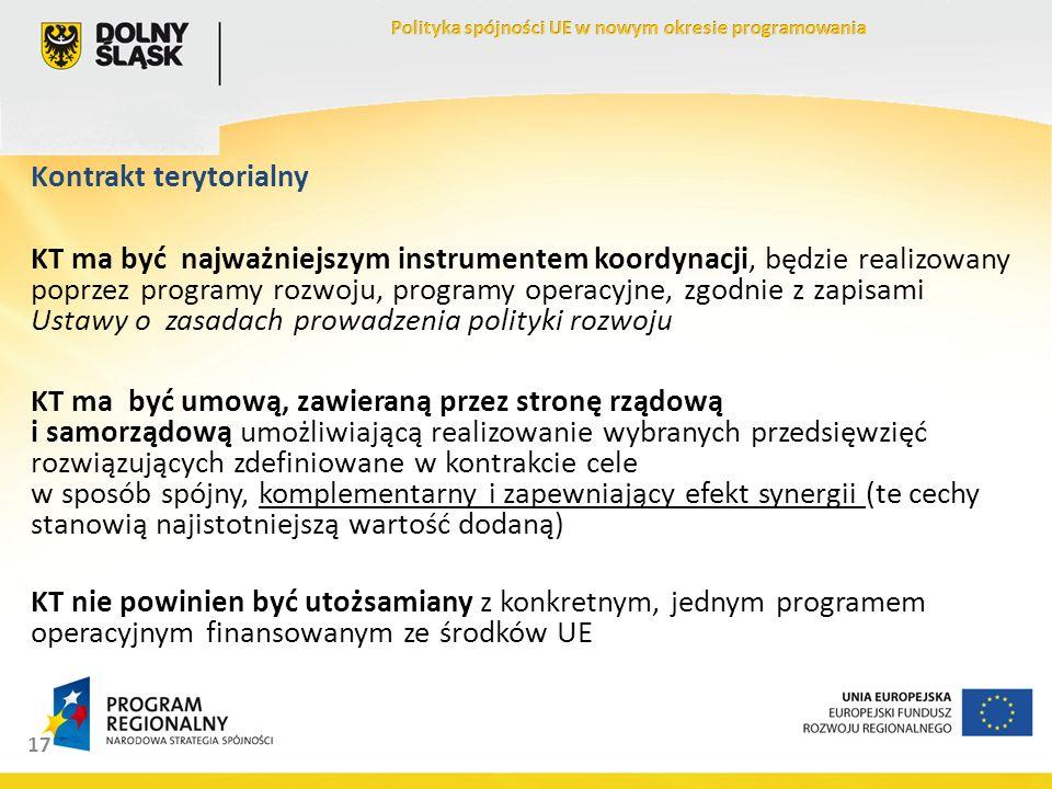17 Kontrakt terytorialny KT ma być najważniejszym instrumentem koordynacji, będzie realizowany poprzez programy rozwoju, programy operacyjne, zgodnie z zapisami Ustawy o zasadach prowadzenia polityki rozwoju KT ma być umową, zawieraną przez stronę rządową i samorządową umożliwiającą realizowanie wybranych przedsięwzięć rozwiązujących zdefiniowane w kontrakcie cele w sposób spójny, komplementarny i zapewniający efekt synergii (te cechy stanowią najistotniejszą wartość dodaną) KT nie powinien być utożsamiany z konkretnym, jednym programem operacyjnym finansowanym ze środków UE