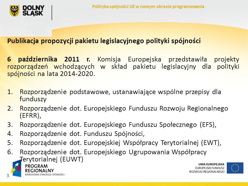 3 Publikacja propozycji pakietu legislacyjnego polityki spójności 6 października 2011 r. Komisja Europejska przedstawiła projekty rozporządzeń wchodzą