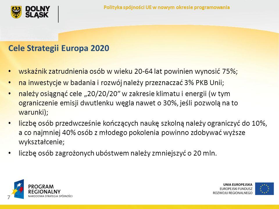 7 Cele Strategii Europa 2020 wskaźnik zatrudnienia osób w wieku 20-64 lat powinien wynosić 75%; na inwestycje w badania i rozwój należy przeznaczać 3% PKB Unii; należy osiągnąć cele 20/20/20 w zakresie klimatu i energii (w tym ograniczenie emisji dwutlenku węgla nawet o 30%, jeśli pozwolą na to warunki); liczbę osób przedwcześnie kończących naukę szkolną należy ograniczyć do 10%, a co najmniej 40% osób z młodego pokolenia powinno zdobywać wyższe wykształcenie; liczbę osób zagrożonych ubóstwem należy zmniejszyć o 20 mln.
