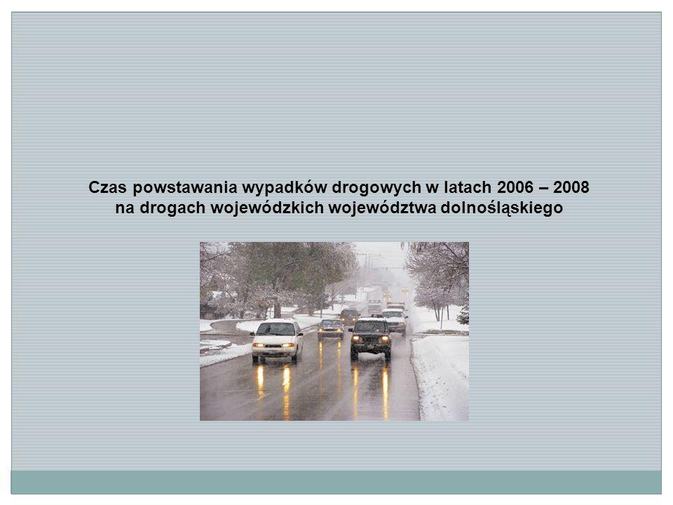 Czas powstawania wypadków drogowych w latach 2006 – 2008 na drogach wojewódzkich województwa dolnośląskiego