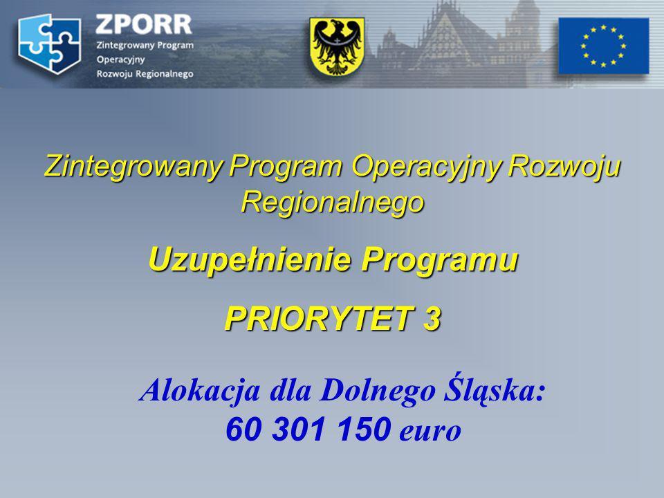 Zintegrowany Program Operacyjny Rozwoju Regionalnego Uzupełnienie Programu PRIORYTET 3 Alokacja dla Dolnego Śląska: 60 301 150 euro