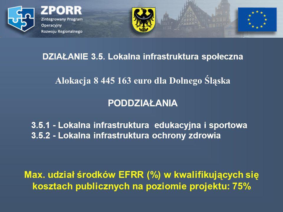 Alokacja 8 445 163 euro dla Dolnego Śląska PODDZIAŁANIA 3.5.1 - Lokalna infrastruktura edukacyjna i sportowa 3.5.2 - Lokalna infrastruktura ochrony zdrowia DZIAŁANIE 3.5.