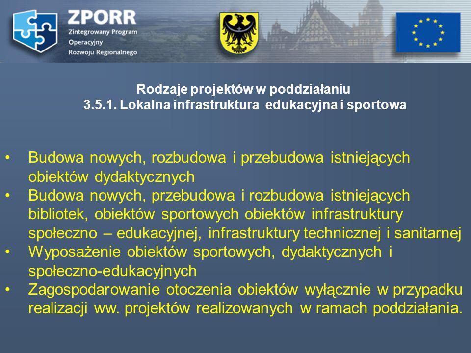 Rodzaje projektów w poddziałaniu 3.5.1. Lokalna infrastruktura edukacyjna i sportowa Budowa nowych, rozbudowa i przebudowa istniejących obiektów dydak