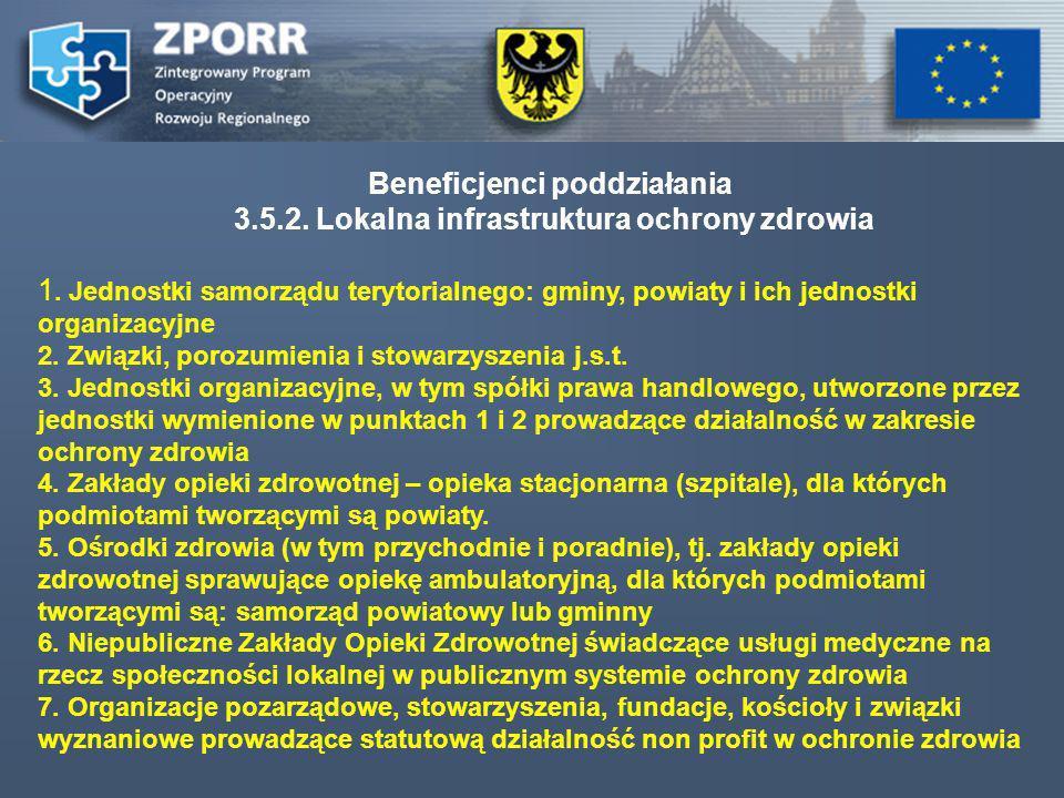 Beneficjenci poddziałania 3.5.2. Lokalna infrastruktura ochrony zdrowia 1. Jednostki samorządu terytorialnego: gminy, powiaty i ich jednostki organiza
