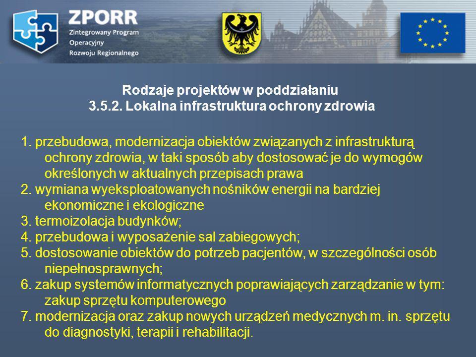 Rodzaje projektów w poddziałaniu 3.5.2. Lokalna infrastruktura ochrony zdrowia 1. przebudowa, modernizacja obiektów związanych z infrastrukturą ochron