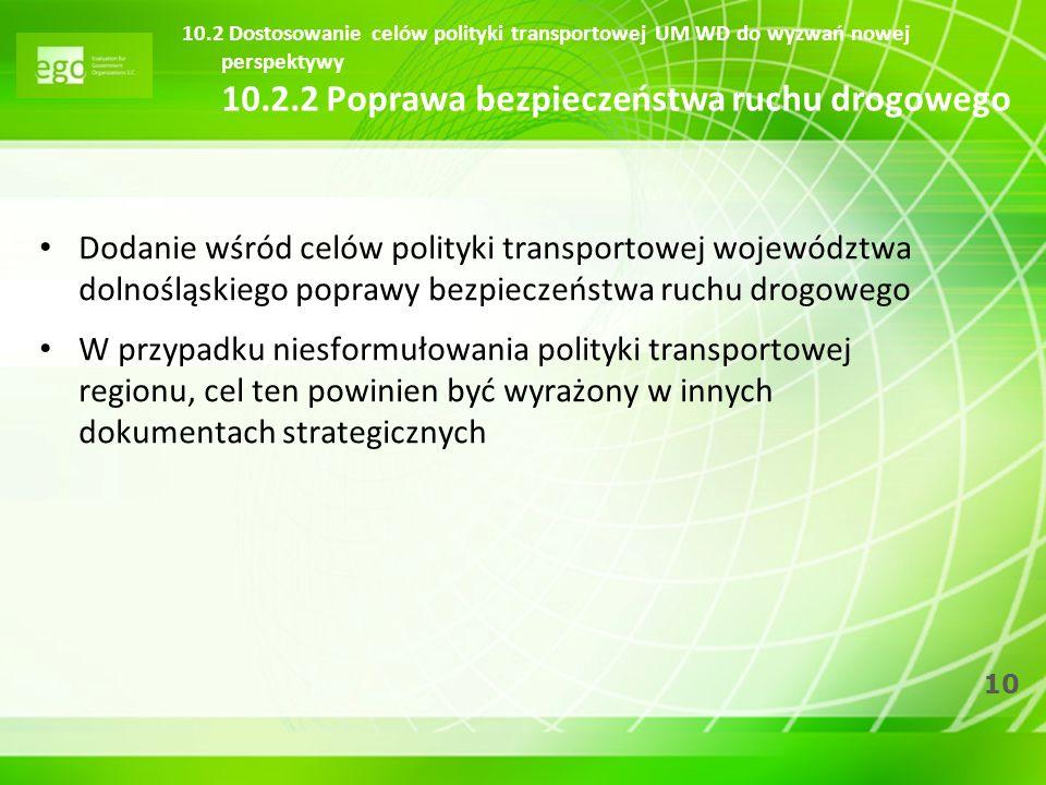 10 10.2 Dostosowanie celów polityki transportowej UM WD do wyzwań nowej perspektywy 10.2.2 Poprawa bezpieczeństwa ruchu drogowego Dodanie wśród celów