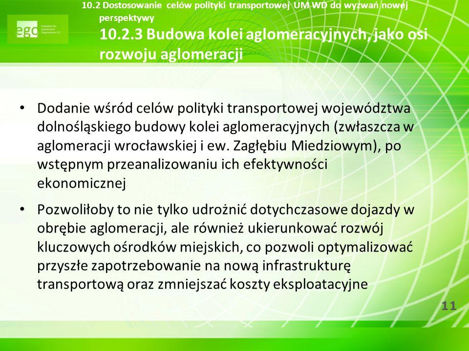 11 10.2 Dostosowanie celów polityki transportowej UM WD do wyzwań nowej perspektywy 10.2.3 Budowa kolei aglomeracyjnych, jako osi rozwoju aglomeracji