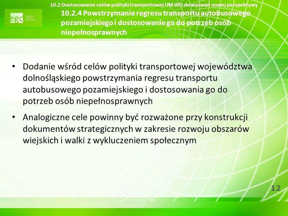 12 10.2 Dostosowanie celów polityki transportowej UM WD do wyzwań nowej perspektywy 10.2.4 Powstrzymanie regresu transportu autobusowego pozamiejskieg