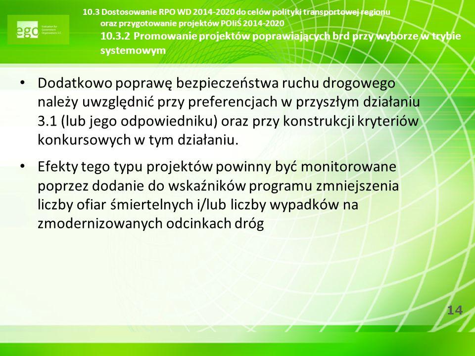 14 10.3 Dostosowanie RPO WD 2014-2020 do celów polityki transportowej regionu oraz przygotowanie projektów POIiŚ 2014-2020 10.3.2 Promowanie projektów