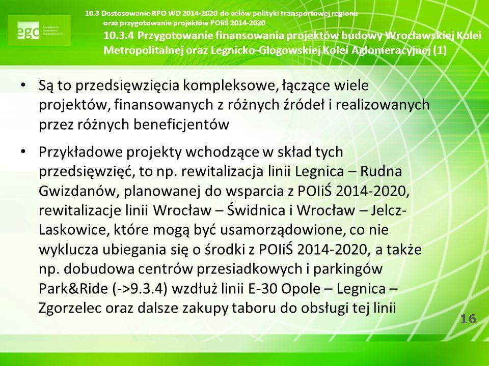 16 10.3 Dostosowanie RPO WD 2014-2020 do celów polityki transportowej regionu oraz przygotowanie projektów POIiŚ 2014-2020 10.3.4 Przygotowanie finans