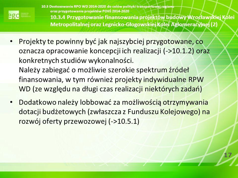 17 10.3 Dostosowanie RPO WD 2014-2020 do celów polityki transportowej regionu oraz przygotowanie projektów POIiŚ 2014-2020 10.3.4 Przygotowanie finans