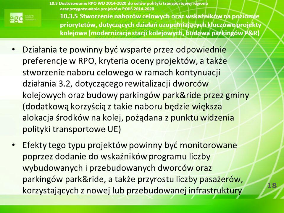 18 10.3 Dostosowanie RPO WD 2014-2020 do celów polityki transportowej regionu oraz przygotowanie projektów POIiŚ 2014-2020 10.3.5 Stworzenie naborów c