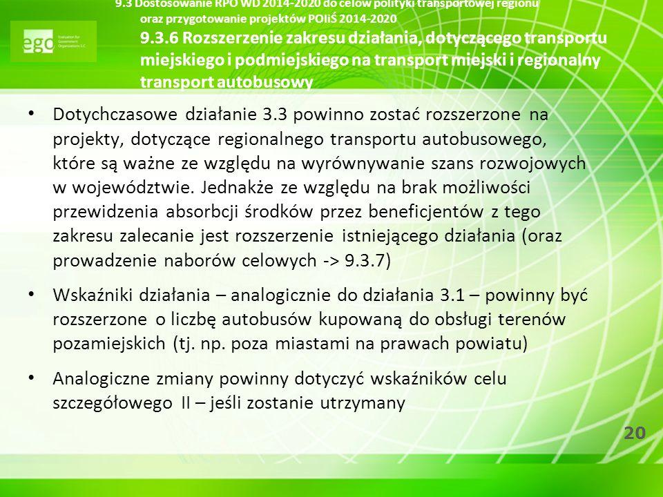 20 Dotychczasowe działanie 3.3 powinno zostać rozszerzone na projekty, dotyczące regionalnego transportu autobusowego, które są ważne ze względu na wy