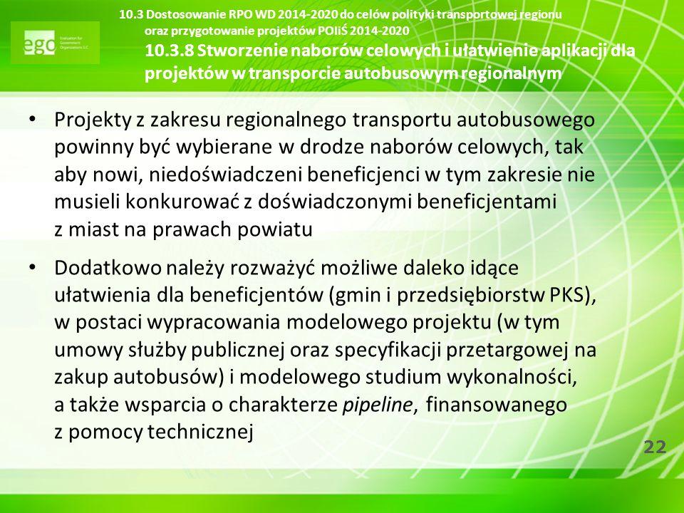 22 10.3 Dostosowanie RPO WD 2014-2020 do celów polityki transportowej regionu oraz przygotowanie projektów POIiŚ 2014-2020 10.3.8 Stworzenie naborów c