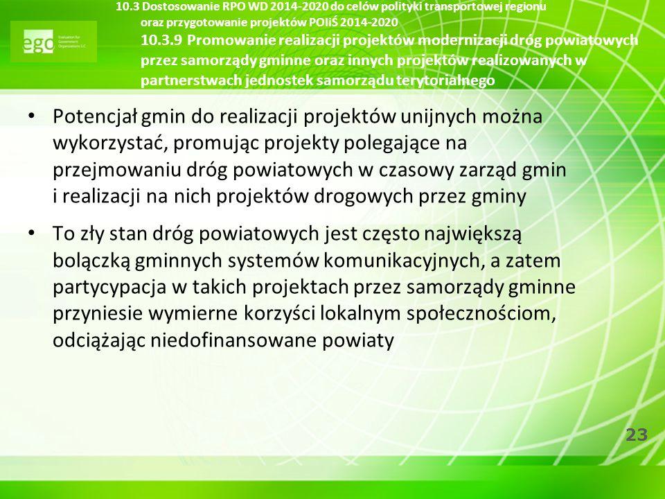 23 10.3 Dostosowanie RPO WD 2014-2020 do celów polityki transportowej regionu oraz przygotowanie projektów POIiŚ 2014-2020 10.3.9 Promowanie realizacj