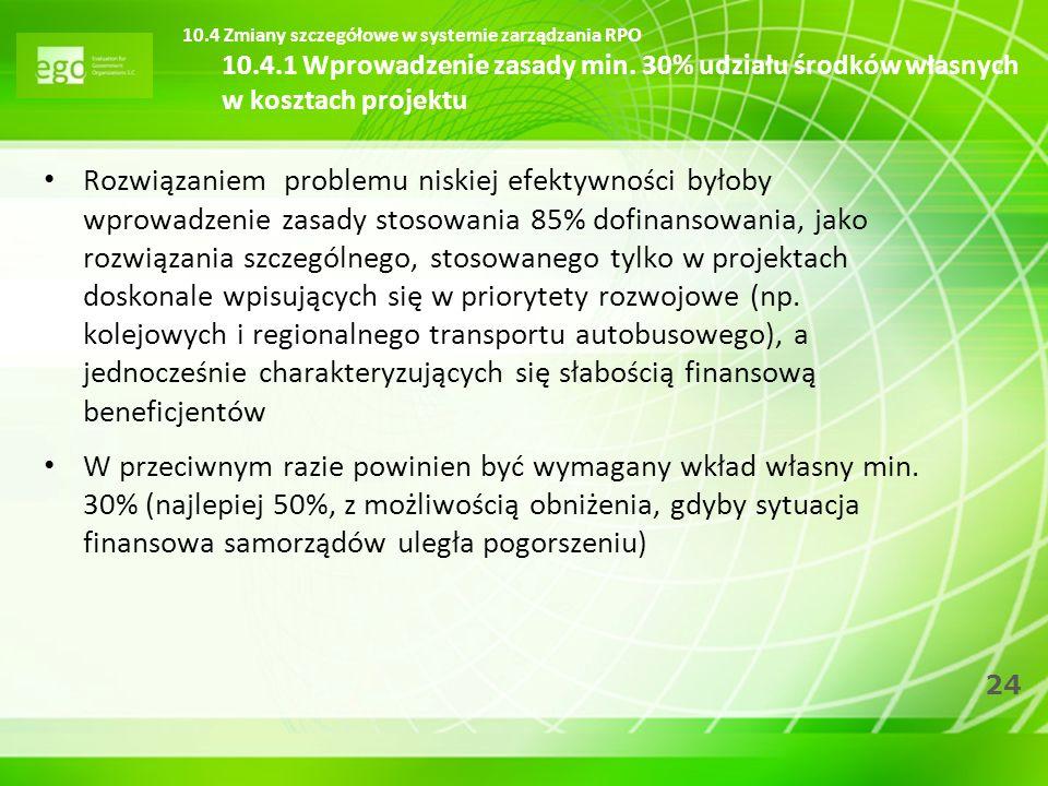 24 Rozwiązaniem problemu niskiej efektywności byłoby wprowadzenie zasady stosowania 85% dofinansowania, jako rozwiązania szczególnego, stosowanego tyl
