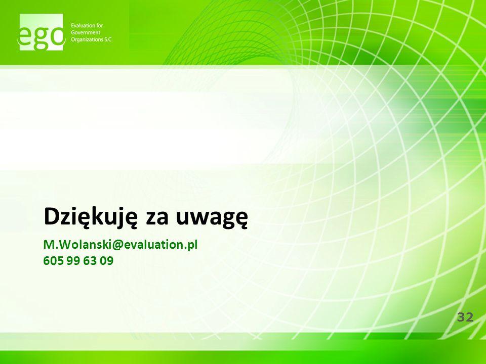 32 M.Wolanski@evaluation.pl 605 99 63 09 Dziękuję za uwagę