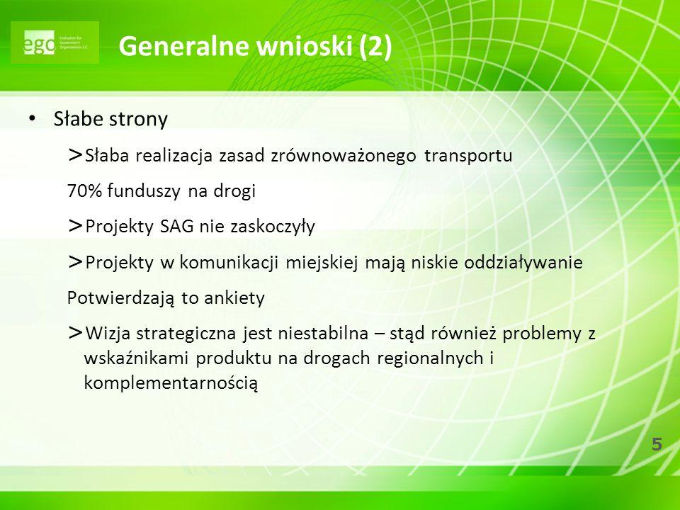 5 Generalne wnioski (2) Słabe strony > Słaba realizacja zasad zrównoważonego transportu 70% funduszy na drogi > Projekty SAG nie zaskoczyły > Projekty