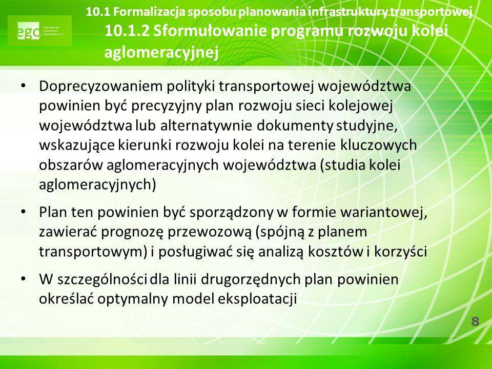 8 10.1 Formalizacja sposobu planowania infrastruktury transportowej 10.1.2 Sformułowanie programu rozwoju kolei aglomeracyjnej Doprecyzowaniem polityk
