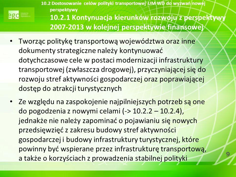 9 10.2 Dostosowanie celów polityki transportowej UM WD do wyzwań nowej perspektywy 10.2.1 Kontynuacja kierunków rozwoju z perspektywy 2007-2013 w kole