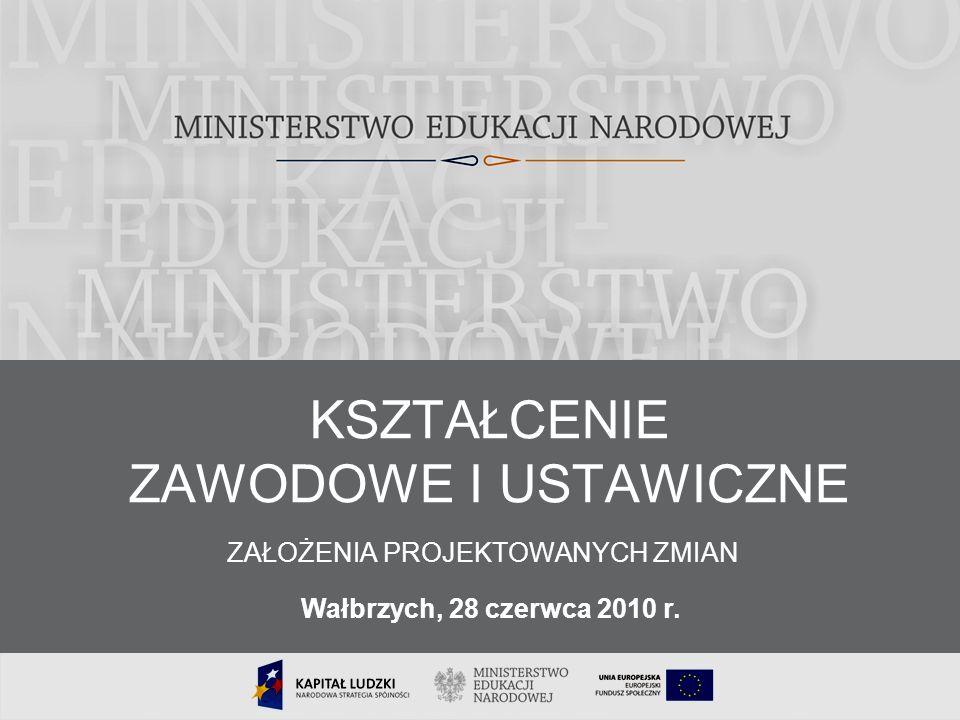 1 KSZTAŁCENIE ZAWODOWE I USTAWICZNE ZAŁOŻENIA PROJEKTOWANYCH ZMIAN Wałbrzych, 28 czerwca 2010 r.