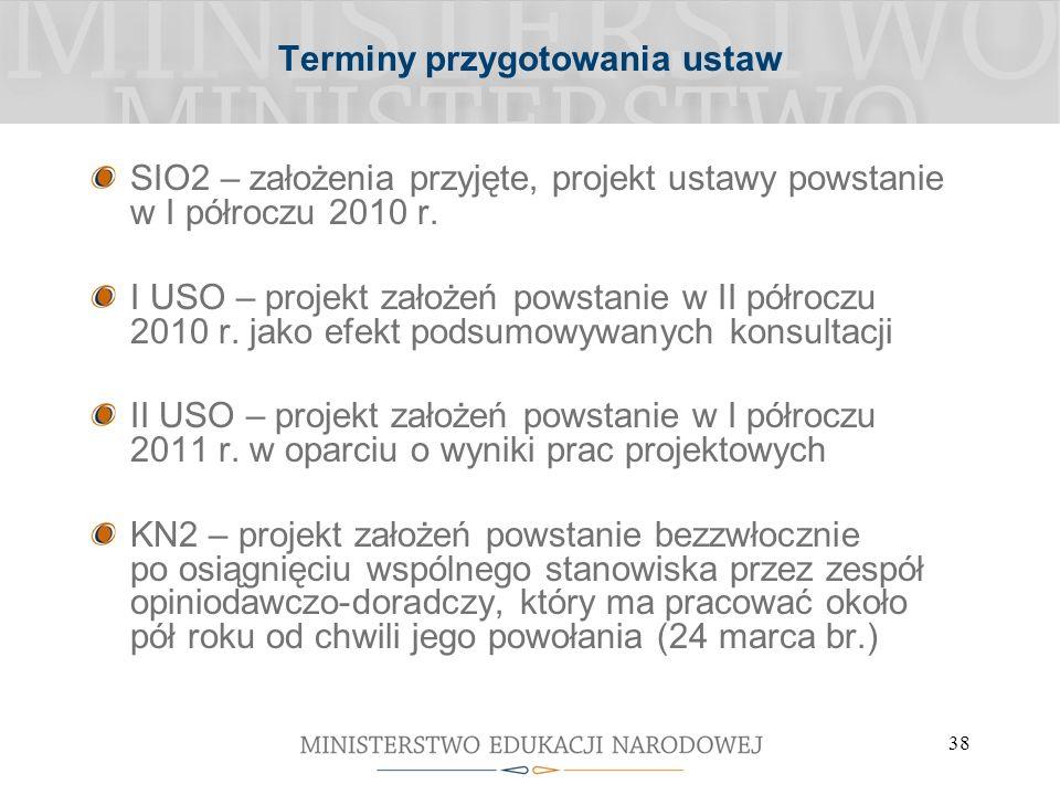38 Terminy przygotowania ustaw SIO2 – założenia przyjęte, projekt ustawy powstanie w I półroczu 2010 r.
