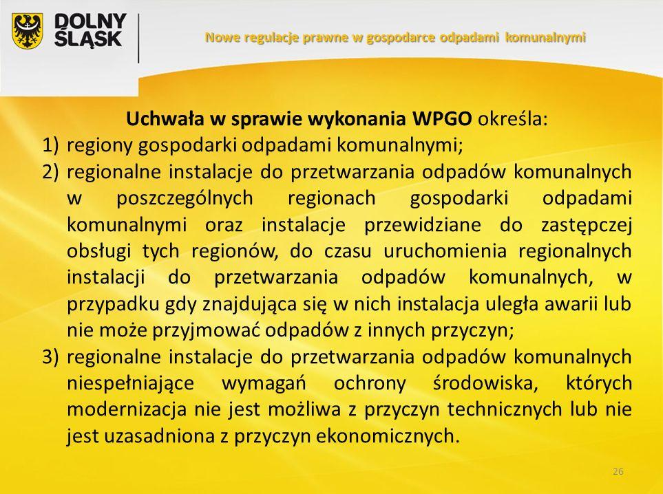 Uchwała w sprawie wykonania WPGO określa: 1)regiony gospodarki odpadami komunalnymi; 2)regionalne instalacje do przetwarzania odpadów komunalnych w po