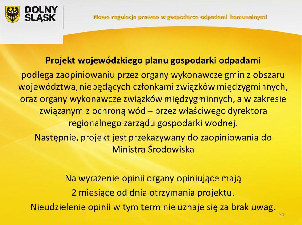 Projekt wojewódzkiego planu gospodarki odpadami podlega zaopiniowaniu przez organy wykonawcze gmin z obszaru województwa, niebędących członkami związk