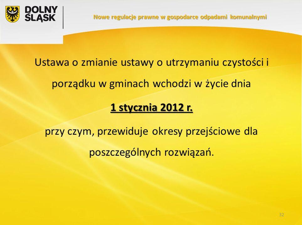 Ustawa o zmianie ustawy o utrzymaniu czystości i porządku w gminach wchodzi w życie dnia 1 stycznia 2012 r. przy czym, przewiduje okresy przejściowe d
