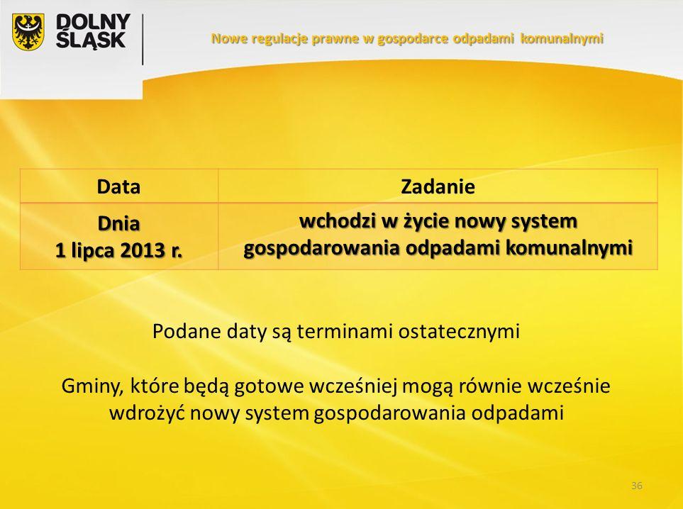 DataZadanie Dnia 1 lipca 2013 r. wchodzi w życie nowy system gospodarowania odpadami komunalnymi 36 Nowe regulacje prawne w gospodarce odpadami komuna