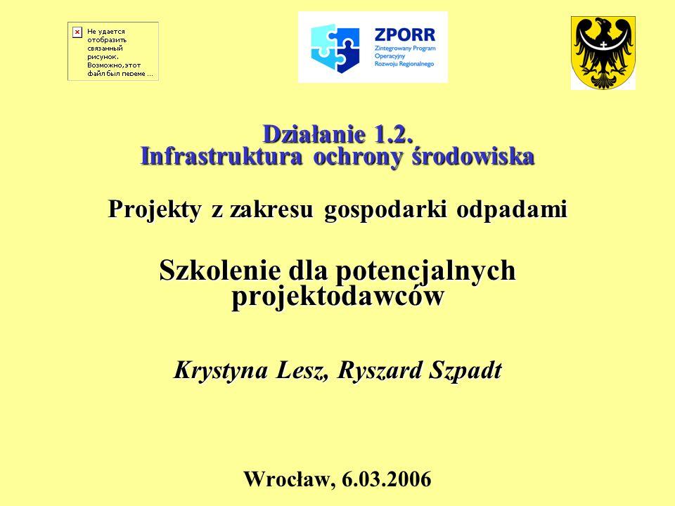 Działanie 1.2. Infrastruktura ochrony środowiska Projekty z zakresu gospodarki odpadami Szkolenie dla potencjalnych projektodawców Krystyna Lesz, Rysz