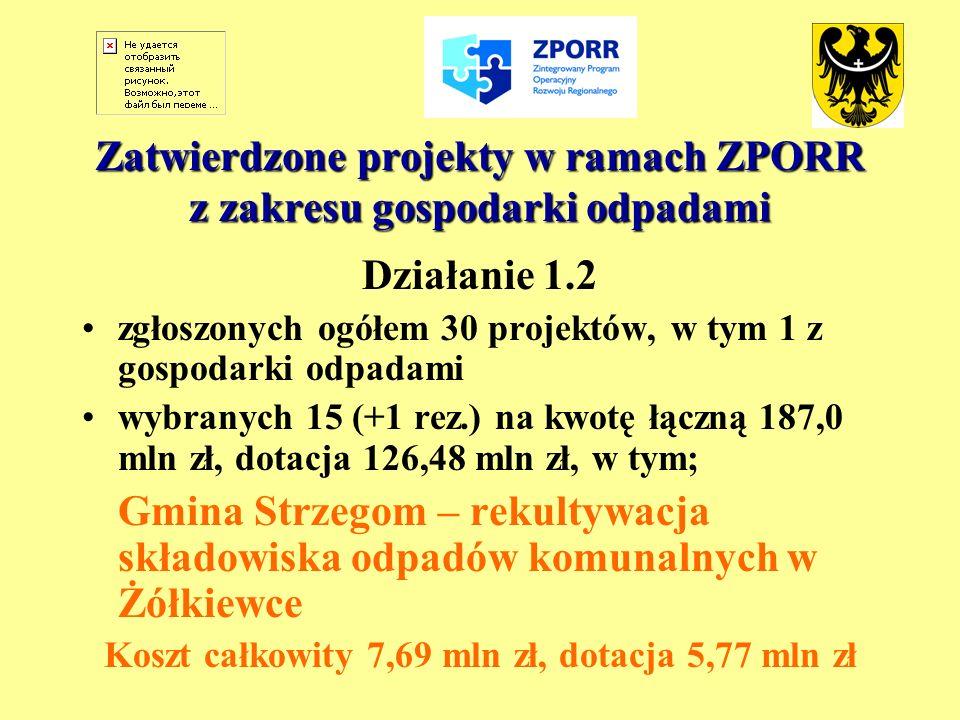 Zatwierdzone projekty w ramach ZPORR z zakresu gospodarki odpadami Działanie 1.2 zgłoszonych ogółem 30 projektów, w tym 1 z gospodarki odpadami wybran