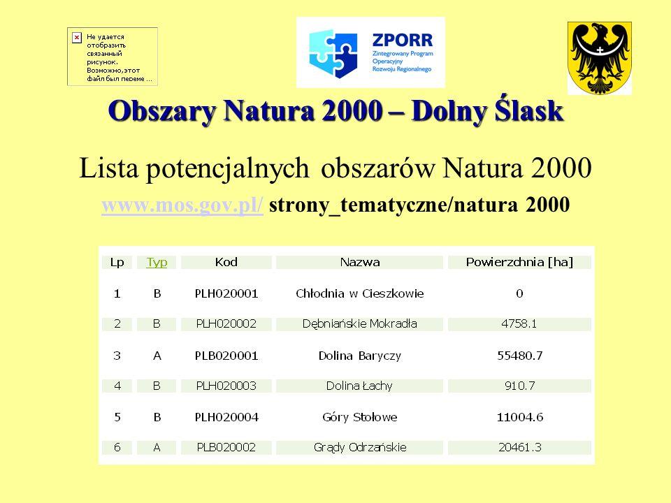 Obszary Natura 2000 – Dolny Ślask Lista potencjalnych obszarów Natura 2000 www.mos.gov.pl/www.mos.gov.pl/ strony_tematyczne/natura 2000
