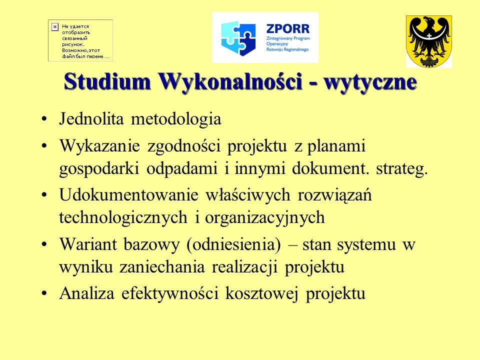 Studium Wykonalności - wytyczne Jednolita metodologia Wykazanie zgodności projektu z planami gospodarki odpadami i innymi dokument. strateg. Udokument