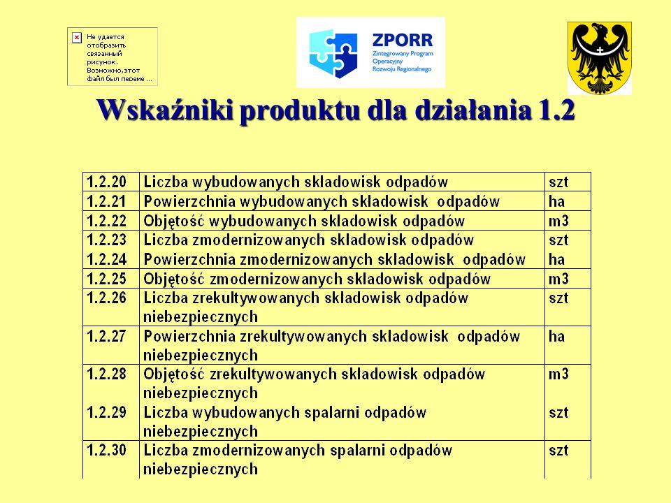 Wskaźniki produktu dla działania 1.2