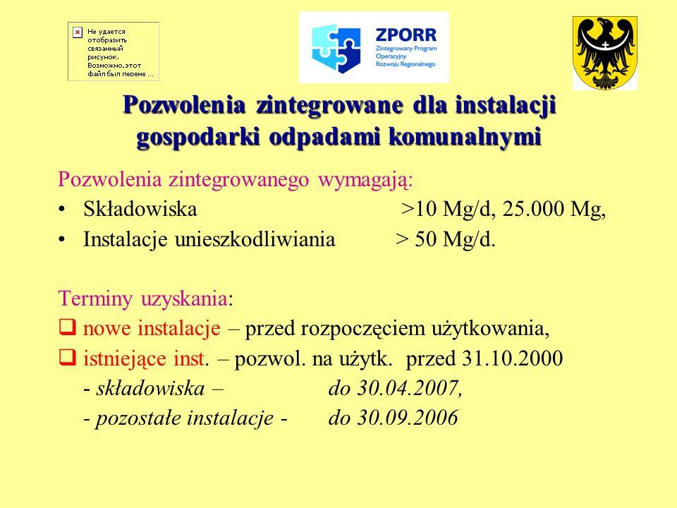 Pozwolenia zintegrowane dla instalacji gospodarki odpadami komunalnymi Pozwolenia zintegrowanego wymagają: Składowiska >10 Mg/d, 25.000 Mg, Instalacje