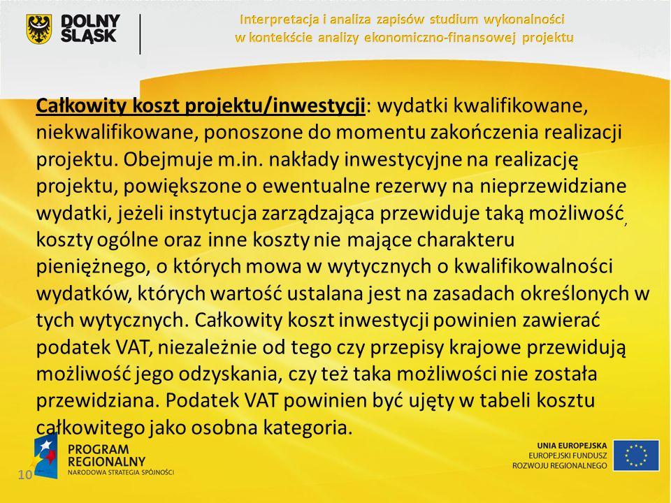 Całkowity koszt projektu/inwestycji: wydatki kwalifikowane, niekwalifikowane, ponoszone do momentu zakończenia realizacji projektu. Obejmuje m.in. nak