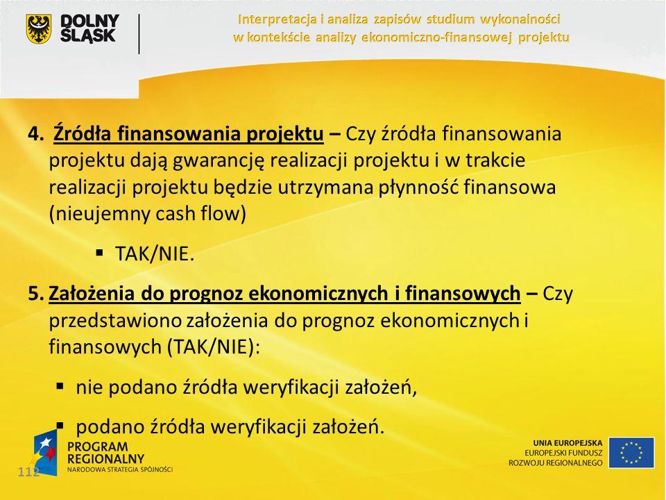 4. Źródła finansowania projektu – Czy źródła finansowania projektu dają gwarancję realizacji projektu i w trakcie realizacji projektu będzie utrzymana