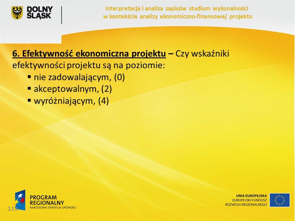 6. Efektywność ekonomiczna projektu – Czy wskaźniki efektywności projektu są na poziomie: nie zadowalającym, (0) akceptowalnym, (2) wyróżniającym, (4)