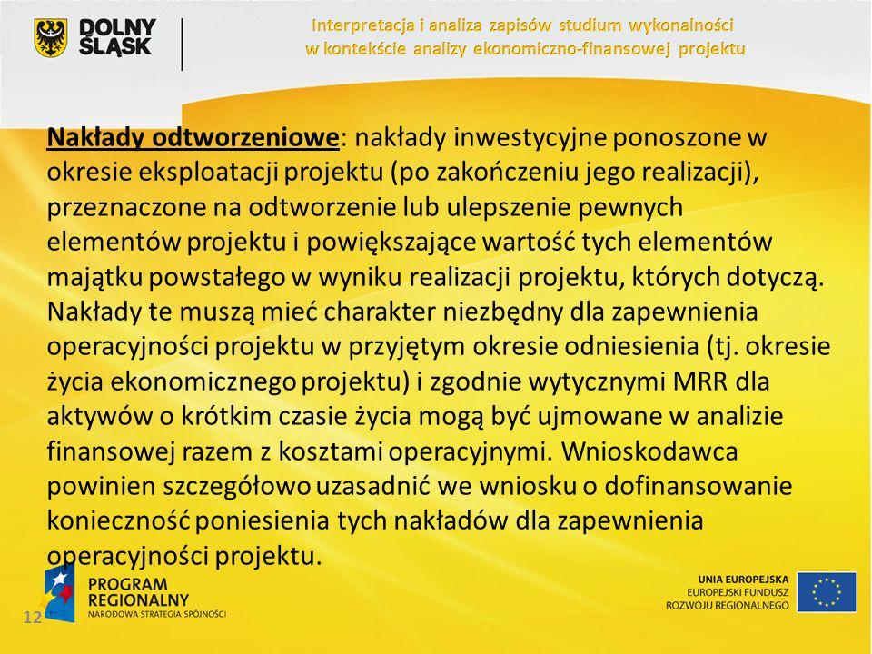 Nakłady odtworzeniowe: nakłady inwestycyjne ponoszone w okresie eksploatacji projektu (po zakończeniu jego realizacji), przeznaczone na odtworzenie lu