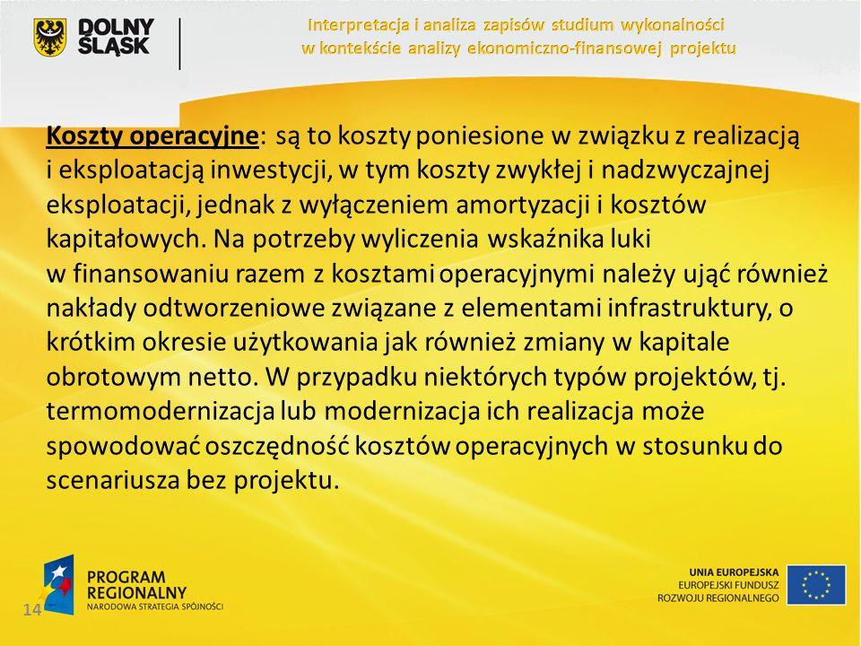 Koszty operacyjne: są to koszty poniesione w związku z realizacją i eksploatacją inwestycji, w tym koszty zwykłej i nadzwyczajnej eksploatacji, jednak